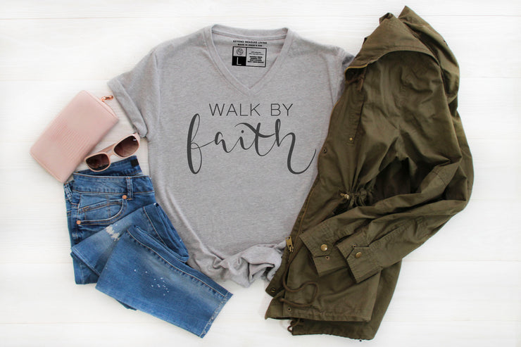 Walk By Faith Shirt | Hand Lettered Modern Calligraphy Writing - Beyond Measure Living