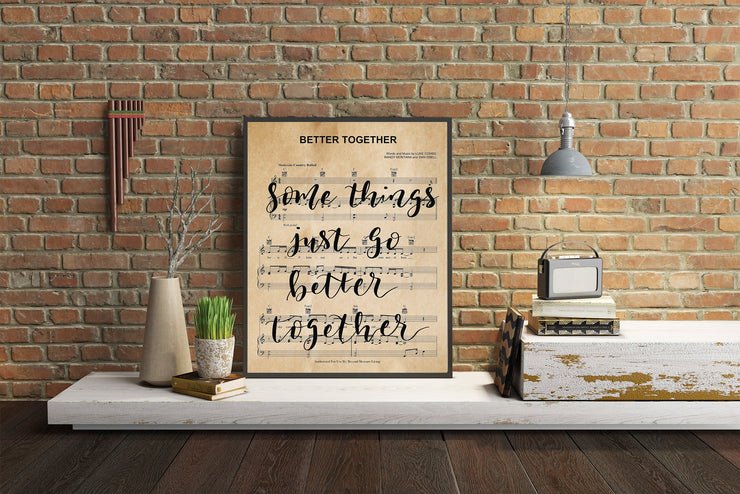 Better Together - Hand Lettered Sheet Music | 5x7, 8x10, or 11x14 | - Beyond Measure Living