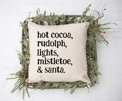 "Hot Cocoa, Rudolph, Lights, Mistletoe, Santa - Square Pillow Cover | Natural Linen Color | 18""x18"" - Beyond Measure Living"