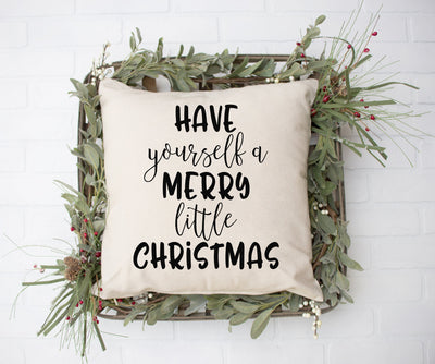 "Merry Little Christmas - Hand Lettered Square Pillow | 18""x18"" Natural Color 