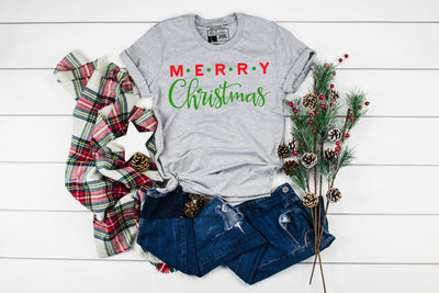 Merry Christmas Red and Green  T-Shirt - Beyond Measure Living