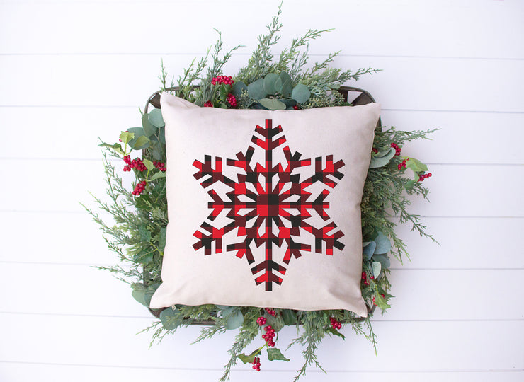 "Plaid Snowflake - Hand Lettered Square Pillow | 18""x18"" Natural Color 