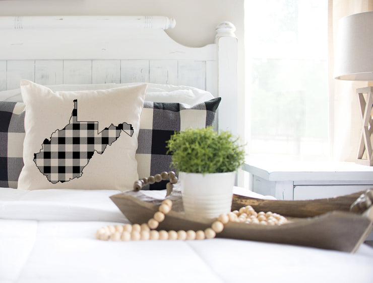 "West Virginia Black Plaid Square Pillow Cover | Natural Linen Color | 18""x18"" - Beyond Measure Living"