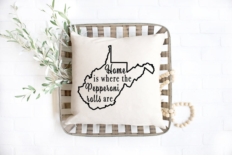 "Home Is Where The Pepperoni Rolls Are Square Pillow Cover | Natural Linen Color | 18""x18"" - Beyond Measure Living"