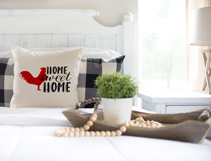 "Home Sweet Home Rooster Square Pillow Cover | Natural Linen Color | 18""x18"" - Beyond Measure Living"