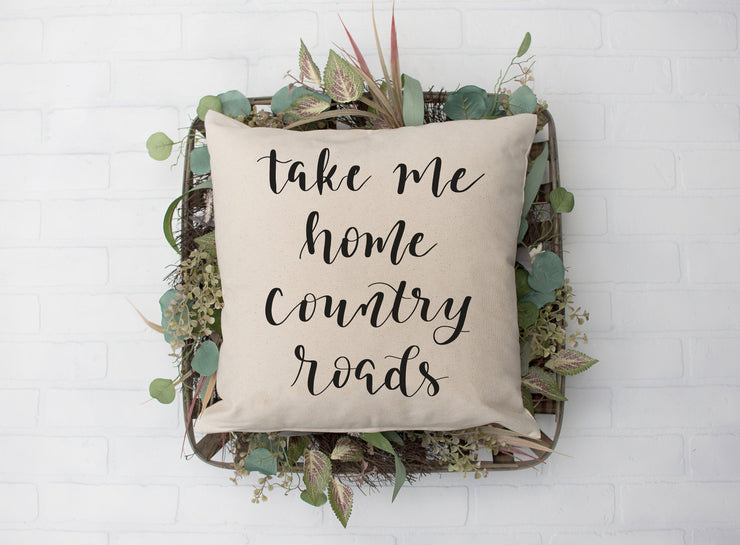 "Take Me Home Country Roads Square Pillow Cover | Natural Linen Color | 18""x18"" - Beyond Measure Living"