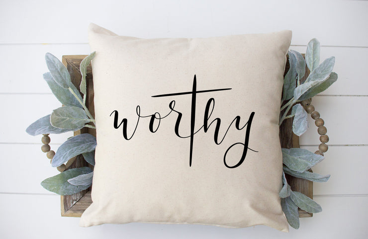 "Worthy Square Pillow Cover | Natural Linen Color | 18""x18"" - Beyond Measure Living"