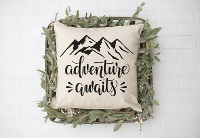 "Adventure Awaits- Square Pillow Cover | 18""x18"" - Beyond Measure Living"