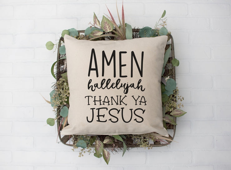 "Amen Hallelujah Thank Ya Jesus Square Pillow Cover | Natural Linen Color | 18""x18"" - Beyond Measure Living"