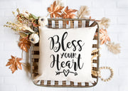 "Bless Your Heart Pillow - Hand Lettered Square Pillow | Natural | 18""x18"" 