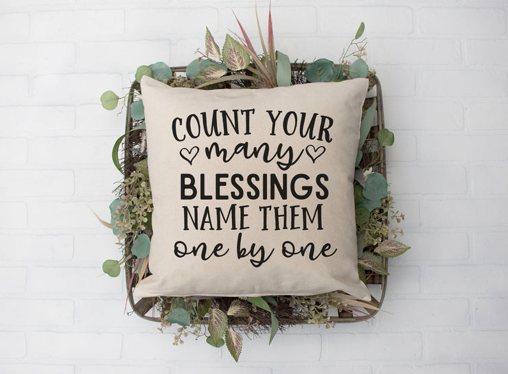 "Count Your Many Blessings- Square Pillow Cover | 18""x18"" - Beyond Measure Living"