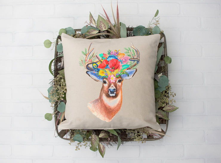 "Boho Deer Square Pillow Cover | Natural Linen Color | 18""x18"" - Beyond Measure Living"