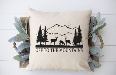 "Off To The Mountains Square Pillow Cover | Natural Linen Color | 18""x18"" - Beyond Measure Living"