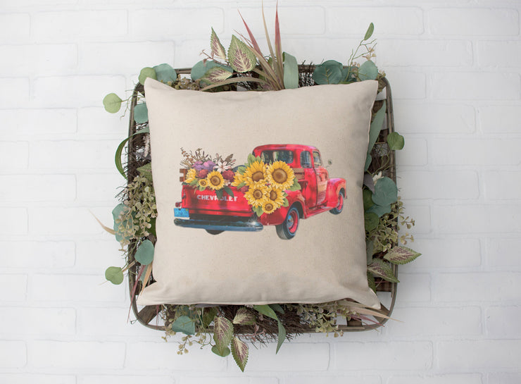 "Red Truck Sunflower Pillow - Hand Lettered Square Pillow | Natural | 18""x18"" 