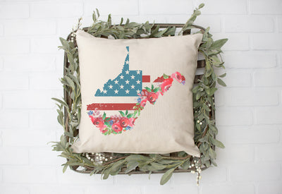 "West Virginia American Flag Floral Square Pillow Cover | Natural Linen Color | 18""x18"" - Beyond Measure Living"
