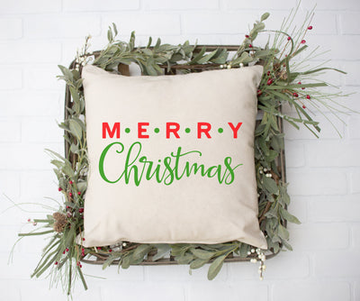 "Merry Christmas Red and Green  - Hand Lettered Square Pillow | 18""x18"" Natural Color 