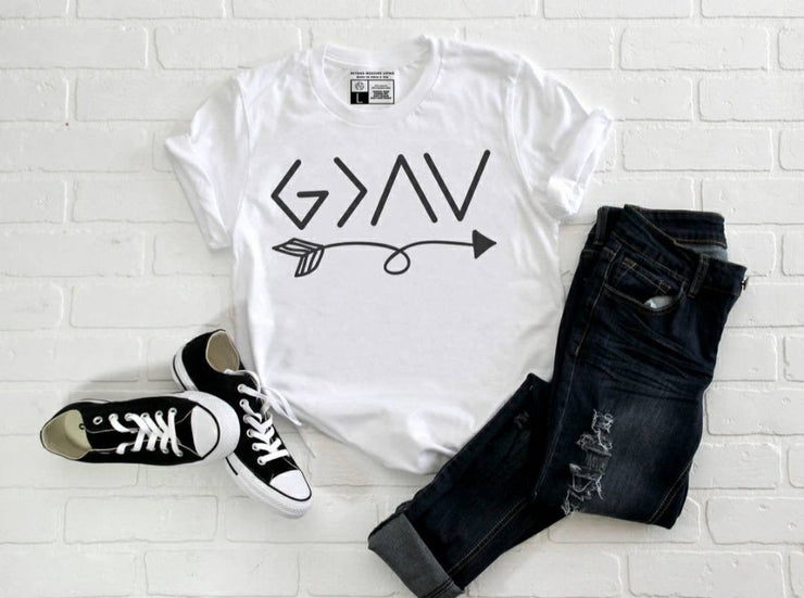 God Is Greater Than Our Ups and Downs with Arrow T-shirt | Luxury Soft Unisex High Quality | White or Gray | Crew Neck or V-Neck - Beyond Measure Living