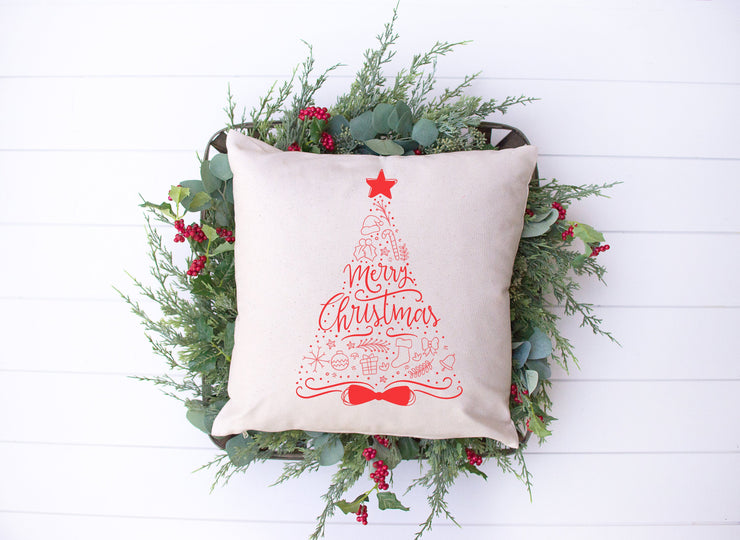 "Red Christmas Tree - Hand Lettered Square Pillow | 18""x18"" Natural Color 