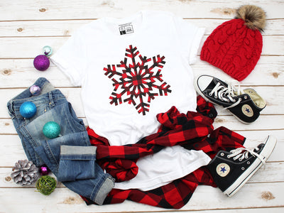 Plaid Snowflake T-Shirt - Beyond Measure Living
