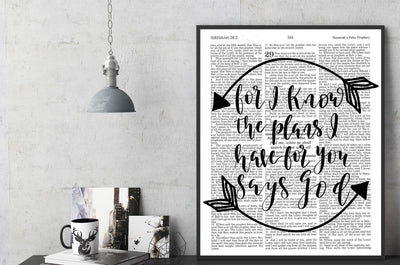 For I Know The Plans I Have For You Says God | Hand Lettered Bible Page | Jeremiah 29:11 | Unframed 5x7, 8x10, or 11x14 | White or Antique - Beyond Measure Living