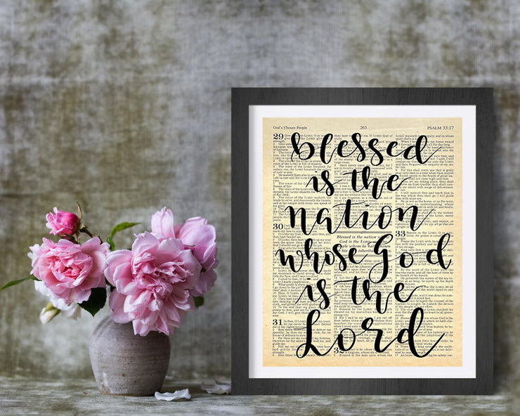 Blessed Is The Nation Whose God Is The Lord | Hand Lettered Bible Page | Psalm 33:12 | Unframed 5x7, 8x10, or 11x14 | White or Antique Paper - Beyond Measure Living