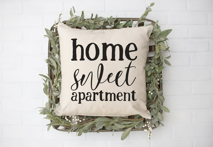 "Home Sweet Apartment - Square Pillow Cover | Natural Linen Color | 18""x18"" - Beyond Measure Living"