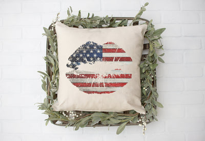 "American Flag Lips Square Pillow Cover | Natural Linen Color | 18""x18"" - Beyond Measure Living"