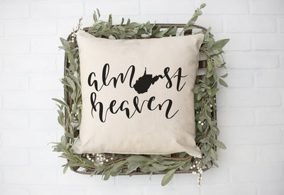 "Almost Heaven Square Pillow Cover | Natural Linen Color | 18""x18"" - Beyond Measure Living"