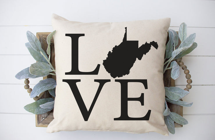 "Love West Virginia Square Pillow Cover | Natural Linen Color | 18""x18"" - Beyond Measure Living"