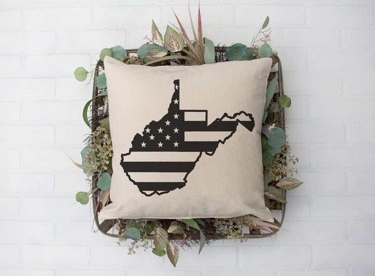 "West Virginia Black Flag Square Pillow Cover | Natural Linen Color | 18""x18"" - Beyond Measure Living"