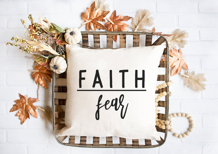 "Faith Over Fear -  Square Pillow Cover | 18""x18"" - Beyond Measure Living"