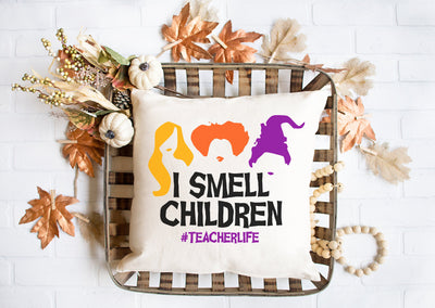 "I Smell Children - Teacher Life - Square Pillow Cover | Natural Linen Color | 18""x18"" - Beyond Measure Living"