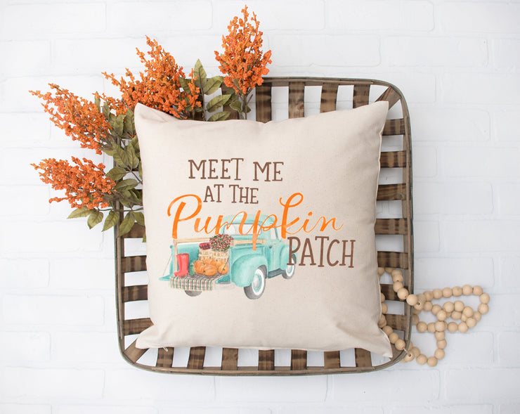 "Meet Me At The Pumpkin Patch Square Pillow Cover | Natural Linen Color | 18""x18"" - Beyond Measure Living"