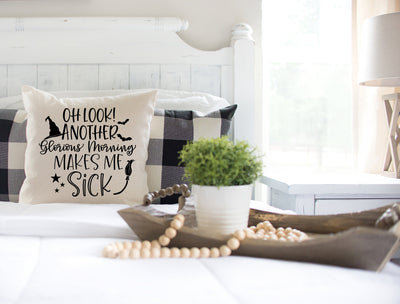 "Oh Look Another Glorious Morning - Hocus Pocus Movie - Square Pillow Cover | Natural Linen Color | 18""x18"" - Beyond Measure Living"