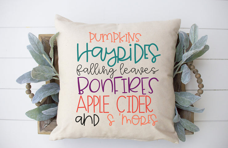 "Fall Words Pillow Cover- Square Pillow Cover | 18""x18"" - Beyond Measure Living"