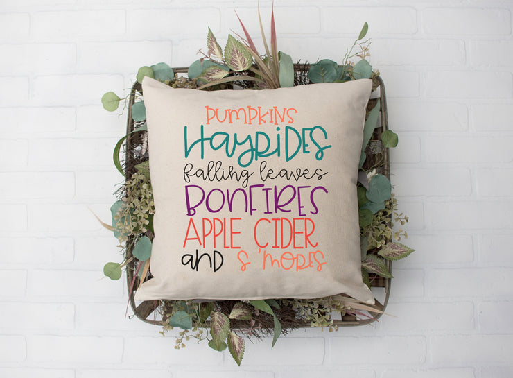 "Pumpkins Hayrides Falling Leaves Bonfires Apple Cider and S'mores - Square Pillow Cover | Natural Linen Color | 18""x18"" - Beyond Measure Living"