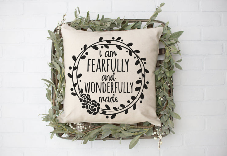 "Fearfully and Wonderfully Made- Square Pillow Cover | 18""x18"" - Beyond Measure Living"