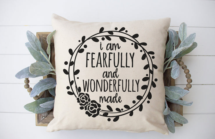 "I Am Fearfully and Wonderfully Made Square Pillow Cover | Natural Linen Color | 18""x18"" - Beyond Measure Living"