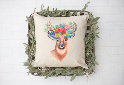 "Floral Deer- Square Pillow Cover | 18""x18"" - Beyond Measure Living"