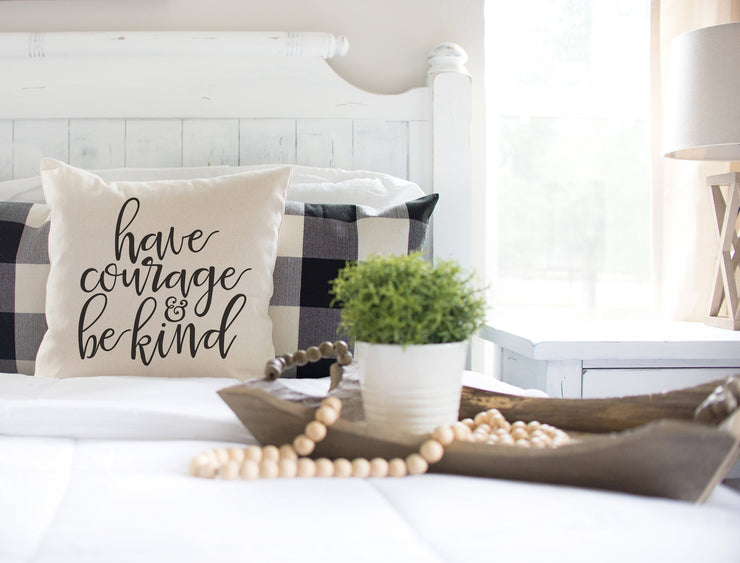 "Have Courage & Be Kind Square Pillow Cover | Natural Linen Color | 18""x18"" - Beyond Measure Living"