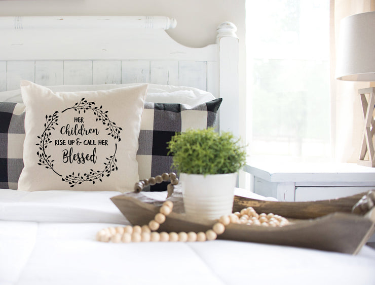 "Her Children Rise Up and Call Her Blessed - Square Pillow Cover | Natural Linen Color | 18""x18"" - Beyond Measure Living"