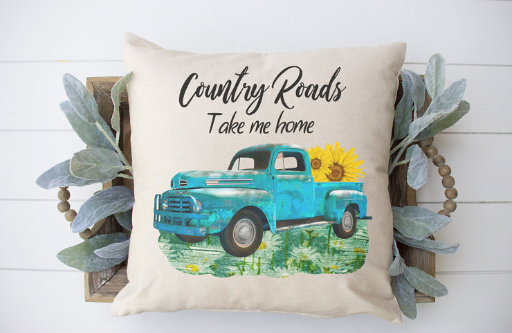 "Country Road Take Me Home- Square Pillow Cover | 18""x18"" - Beyond Measure Living"