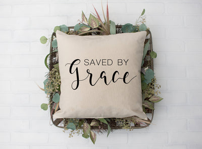"Saved By Grace Pillow - Hand Lettered Square Pillow | Natural | 18""x18"" 