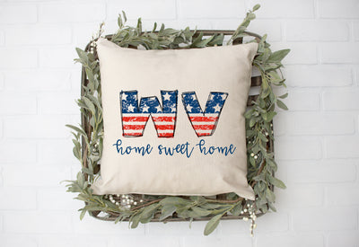 "West Virginia WV American Flag - Home Sweet Home Square Pillow Cover | Natural Linen Color | 18""x18"" - Beyond Measure Living"