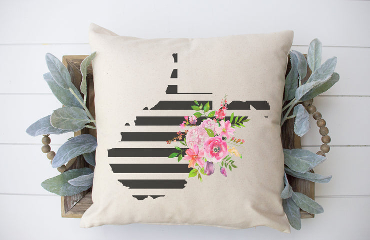"West Virginia State Floral Stripe Square Pillow Cover | Natural Linen Color | 18""x18"" - Beyond Measure Living"