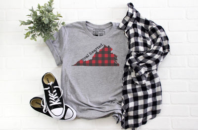 Virginia Coal Hearted T-Shirt | Red and Black Plaid | Luxury Soft Unisex High Quality | White or Gray | Crew Neck or V-Neck - Beyond Measure Living