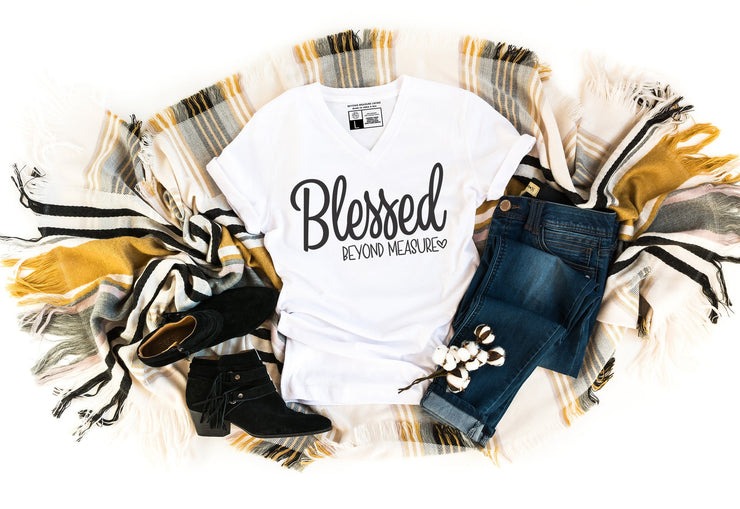 Blessed Beyond Measure T-shirt | Luxury Soft Unisex High Quality | White or Gray | Crew Neck or V-Neck - Beyond Measure Living