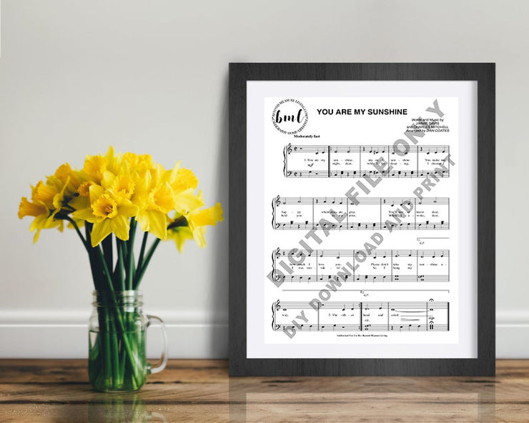 You Are My Sunshine Digital Sheet Music Print | DIY Printable Sizes Included: 5x7, 8x10, 11x14, 16x20, 18x24, 20x24, 24x30, 30x40 - Beyond Measure Living