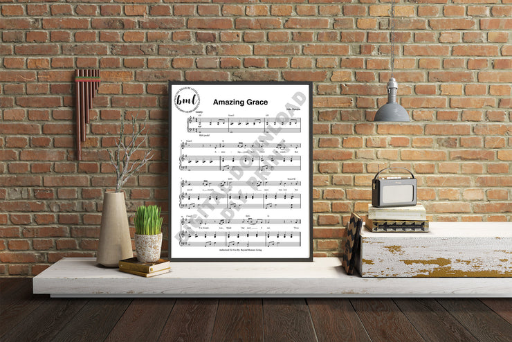 Amazing Grace Digital Sheet Music Print | DIY Printable Sizes Included: 5x7, 8x10, 11x14, 16x20, 18x24, 20x24, 24x30, 30x40 - Beyond Measure Living
