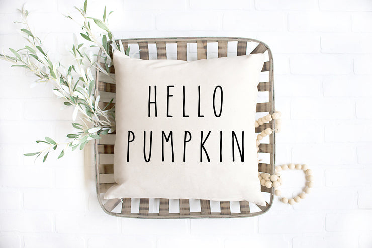 "Hello Pumpkin - Hand Lettered Square Pillow Cover | Natural Linen Color | 18""x18"" - Beyond Measure Living"